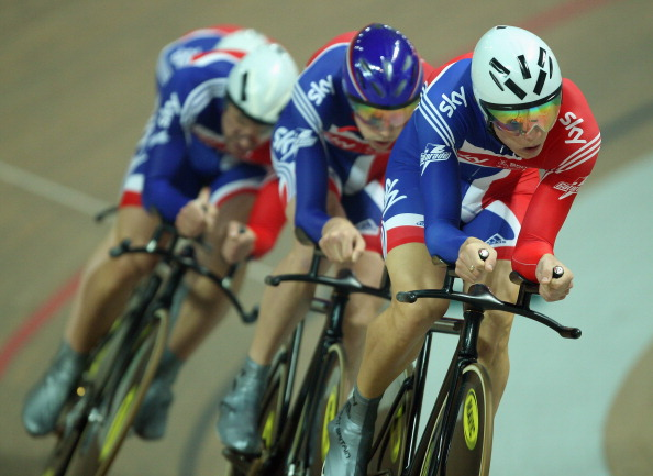 Steven Burke_of_Team_GB_leads_team_mates_leads_Andrew_Tennant_Jason_Queally_and_Ed_Clancy_17-10-11