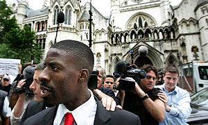 Dwain Chambers_outside_High_Court_2008
