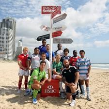 HSBC World_Sevens_teams_on_beach_Gold_Coast_November_2011