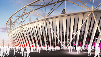 London 2012_Olympic_Stadium_with_wrap_August_4_2011