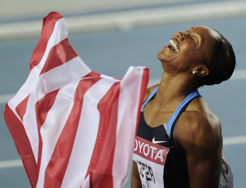 Carmelita Jeter_celebrates_in_Daegu_August_2011