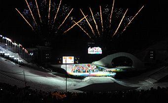 Jeux Olympiques de la Jeunesse d'hiver - Innsbruck 2012 - Cérémonie d'ouverture ! Innsbruck_2012_opening_ceremony_fireworks