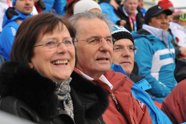 Jacques Rogge_watching_Innsbruck_2012_with_his_wife
