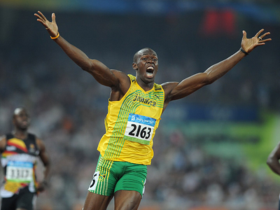 Usain Bolt_celebrating_after_crossing_the_line_Beijing_2008