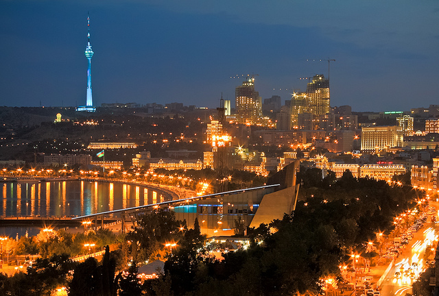 Baku at_night_with_TV_tower