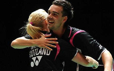 Imogen Bankier_with_Chris_Adcock_celebrate_World_Championships_silver