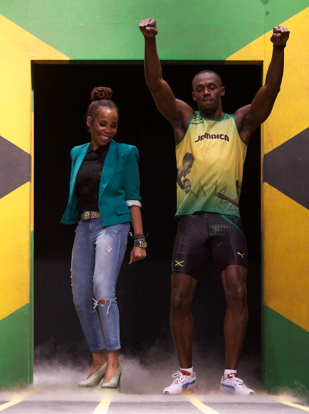 Usain Bolt_with_Cedella_Marley_at_launch_of_Jamaica_kit_for_London_2012_June_1_2012