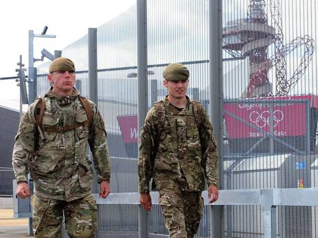 Army at_Olympic_Park_London_2012_by_security_fence