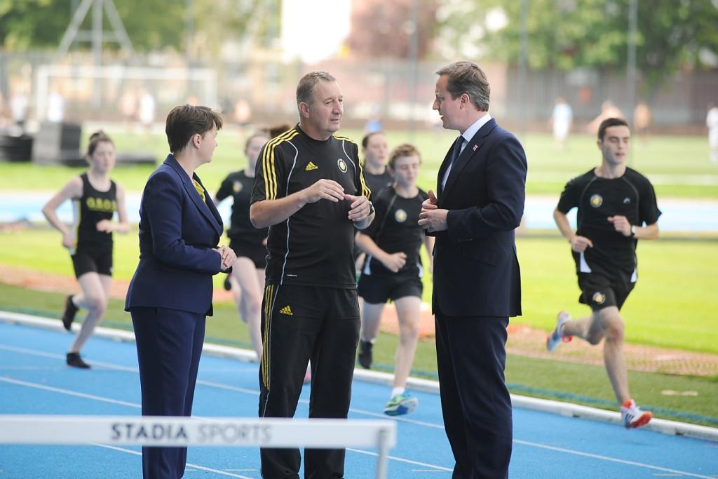 David Cameron__Glasgow_School_of_Sport_athletics_coach_Norrie_Hay__MSP_Ruth_Davidson