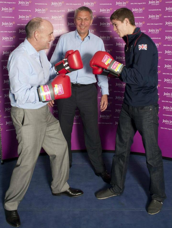 Join Ins_David_Moorcroft_referees_Sir_Charles_Allen_and_Team_GB_boxer_Luke_Campbell_at_Broad_Street_ABC_02-07-12