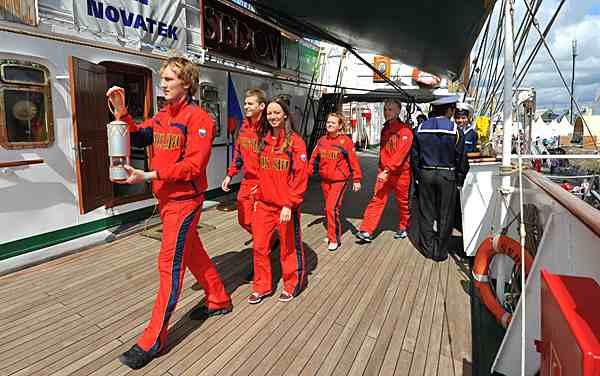 Universiade Flame_aboard_the_Sedov_July_20