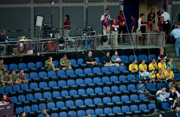 empty seats_inside_North_Greenwich_Arena_during_the_womens_team_preliminaries_competition_at_the_2012_Summer_Olympic_Games_30-07-12