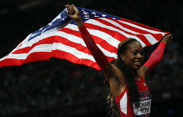 Sanya Richards-Ross_celebrates_winning_London_2012_400m_August_5_2012