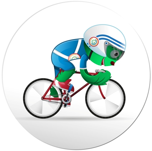 Glasgow 2014_mascot_Clyde_cycling