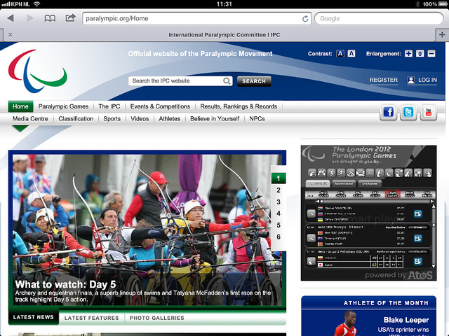 IPC website_during_London_2012