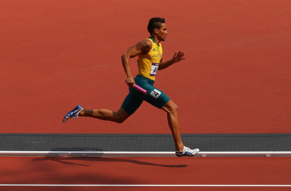John Steffensen_competing_in_4x400m_relay_at_London_2012_August_9