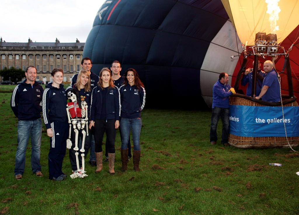 Kristan Laura_Donna_Dominic_Rose_Ed__Shelley_plus_Plus_bob_skeleton_-_who_was_brought_along_by_one_of_the_balloon_pilots