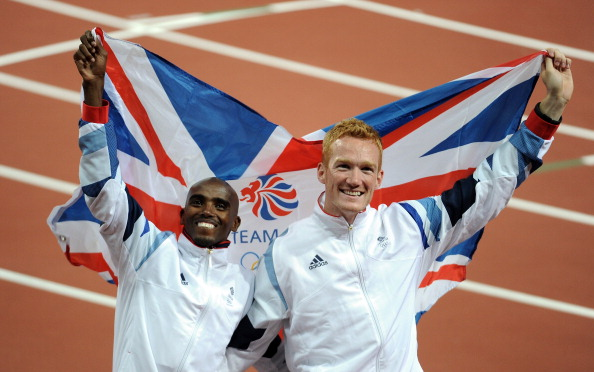 Mo Farah_and_Greg_Rutherford_celebrate_Super_Saturday_August_4_2012