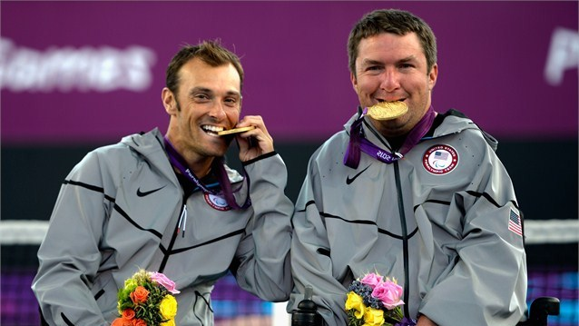 Nick Taylor_and_David_Wagner_celebrate_their_London_2012_wheelchair_tennis_gold