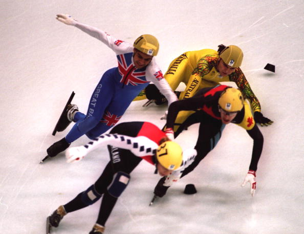 Wilf OReilly_in_collision_at_Lillehammer_1994