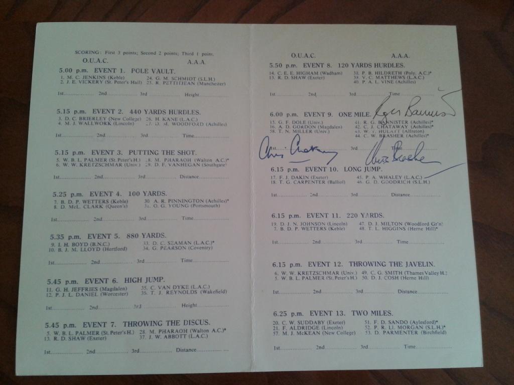 1954 four_mins_mile_programme