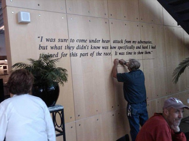 Lance Armstrong_quote_being_taken_down_from_US_Olympic_Training_Centre