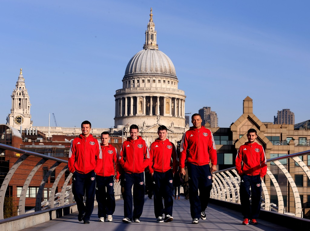 Antony Fowler Sean McGoldrick Josh Taylor Fred Evans Joe Joyce and Andrew Selby at the Launch of the British Lionhearts