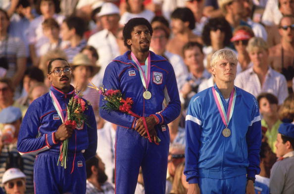 Arto Bryggare on podium Los Angeles 1984