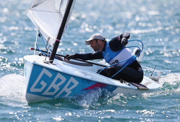 Ben Ainslie competes in the London 2012 mens Finn medal race
