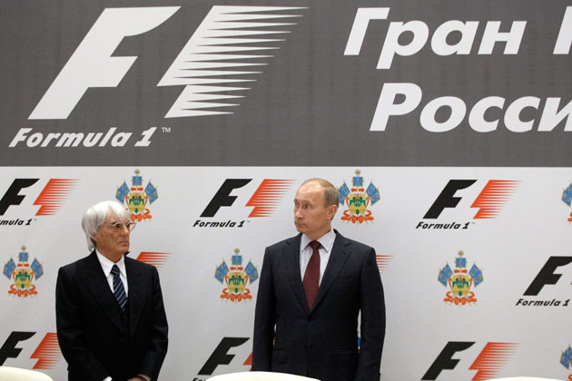 Bernie Ecclestone and Vladimir Putin sign F1 deal Sochi 2014