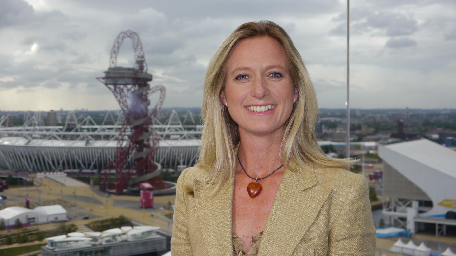 Caroline Rowland in front of Olympic Stadium