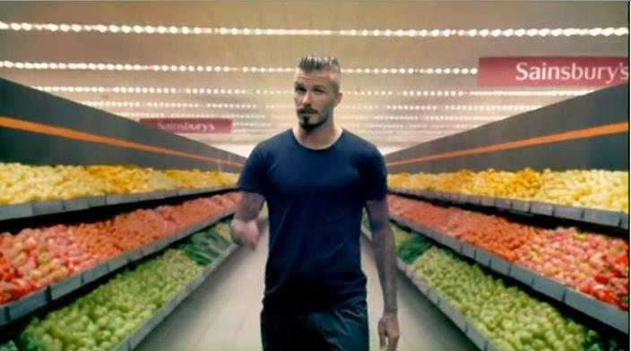David Beckham appearing in Saisnburys London 2012 advert