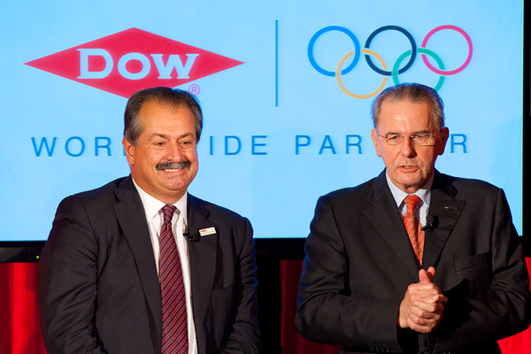 Dow and IOC President Jacque Rogge