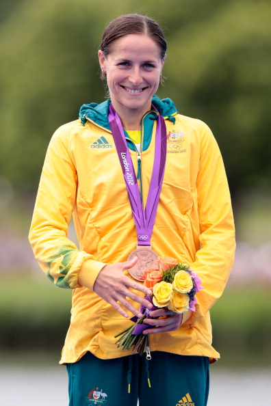 Erin Densham with Olympic bronze medal August 4 2012