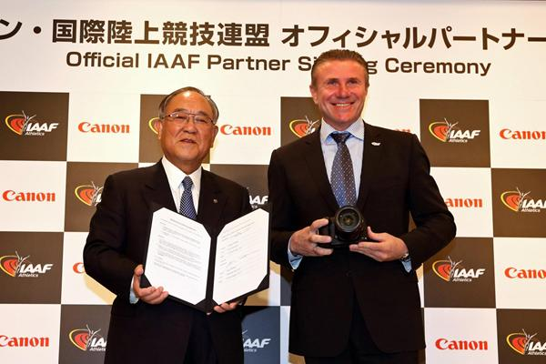 Fujio Mitarai Chairman and CEO of Canon Inc and Sergey Bubka IAAF Vice President at the Canon Official IAAF Partner signing ceremony in Japan