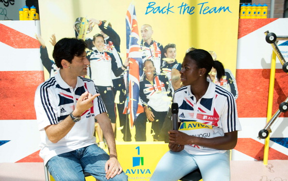 Fuzz Ahmed with Christine Ohuruogu at the Aviva Athletics Roadshow