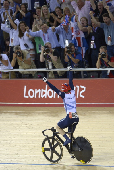 Jason Kenny celebrates winning London 2012 sprint August 6