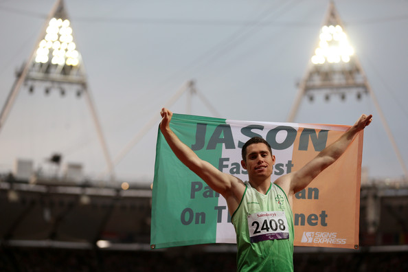 Jason Smyth celebrates at london 2012 with Irish flag
