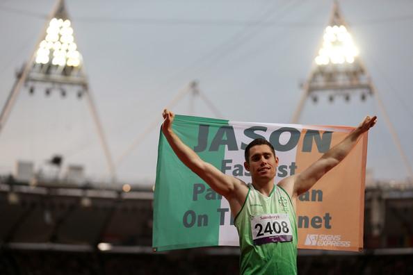 Jason Smyth celebrates at london 2012 with Irish flag
