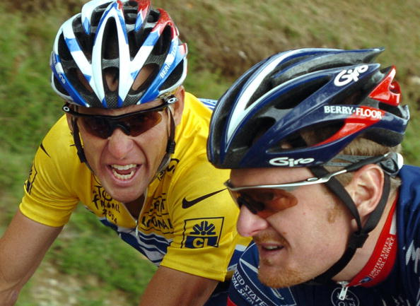 Lance Armstrong and Floyd Landis Lons-Le Saunie July 23 2004