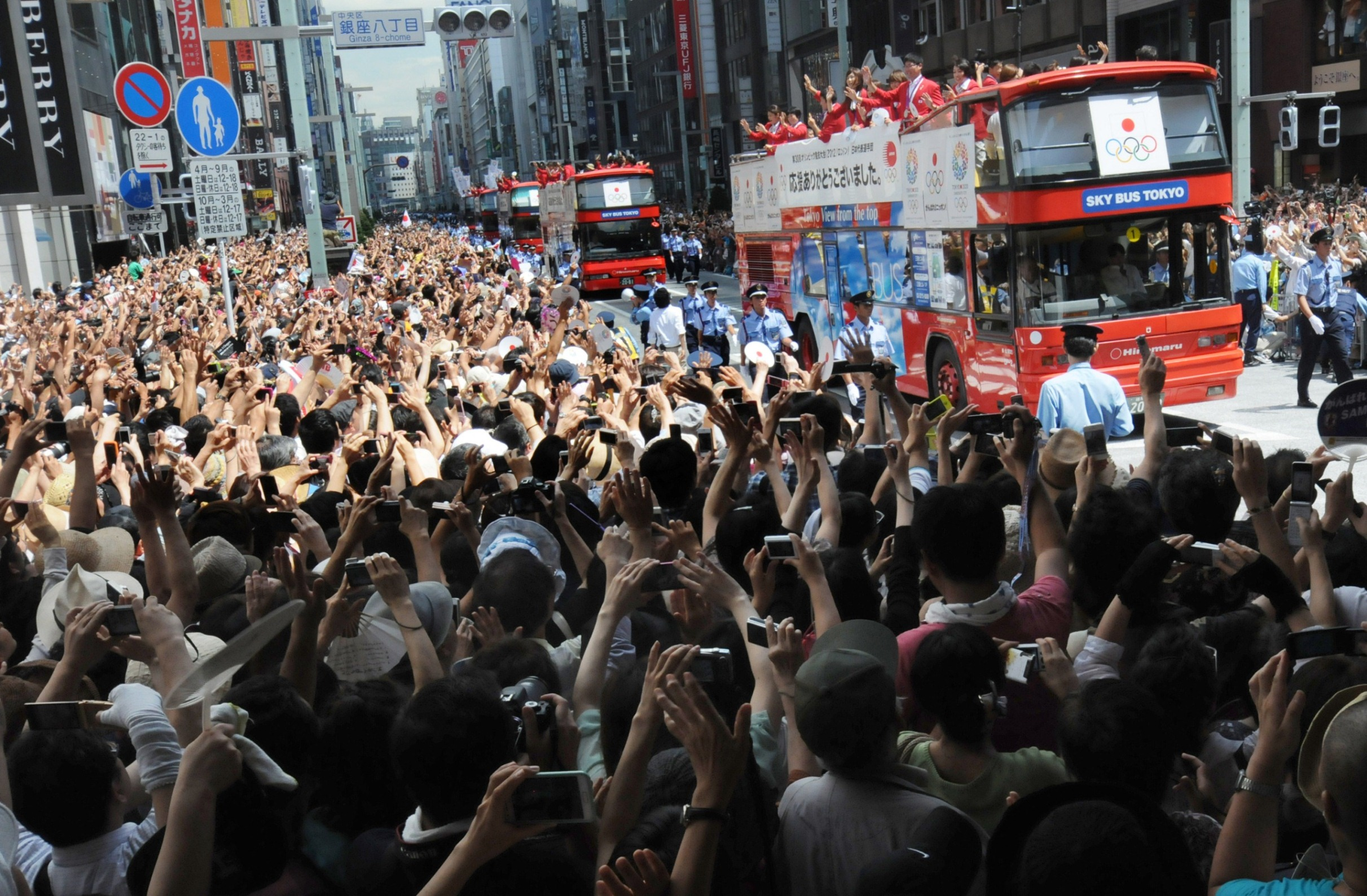 London 2012 victory parade on double decker bus 2
