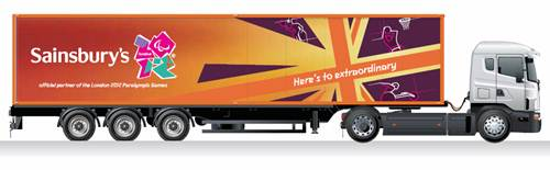 Sainsburys truck with London 2012 branding