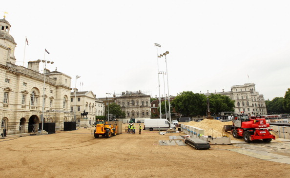 Sand Delivery to London 2012 Olympic Games Beach Volleyball Venue at Horse Guards Parade