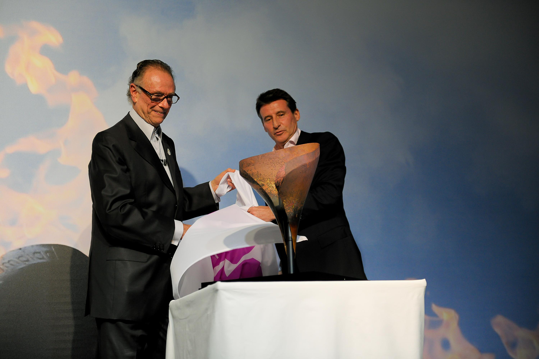 Sebastian Coe presenting copper petal to Carlos Nuzman Rio de Janeiro November 17 2012