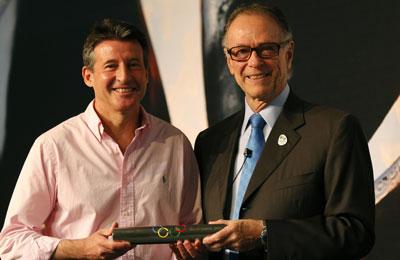 Sebastian Coe receives baton from Carlos Nuzman Rio de Janeiro November 17 2012