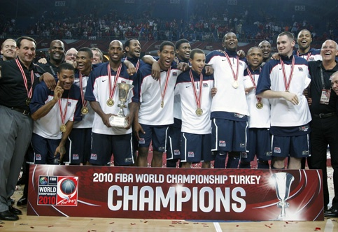 USA celebrate winning 2010 FIBA World Basketball Championships