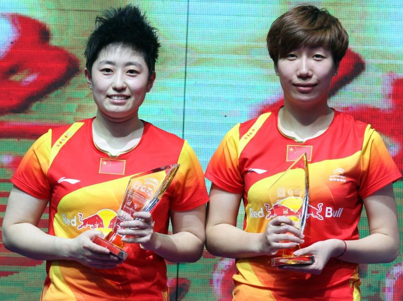 Yu Yang and Wang Xiaoli after winning China Open Shanghai November 18 2012