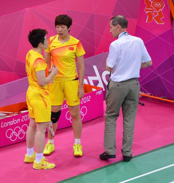 Yu Yang and Wang Xiaoli spoken to by referee at London 2012 July 31