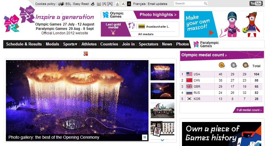 london 2012 website