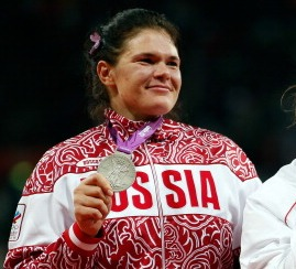 Darya Pishchalnikova with Olympic silver medal London 2012